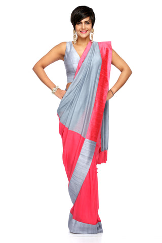 Grey & Rasberry Linen Saree FRONT