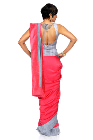 Grey & Rasberry Linen Saree