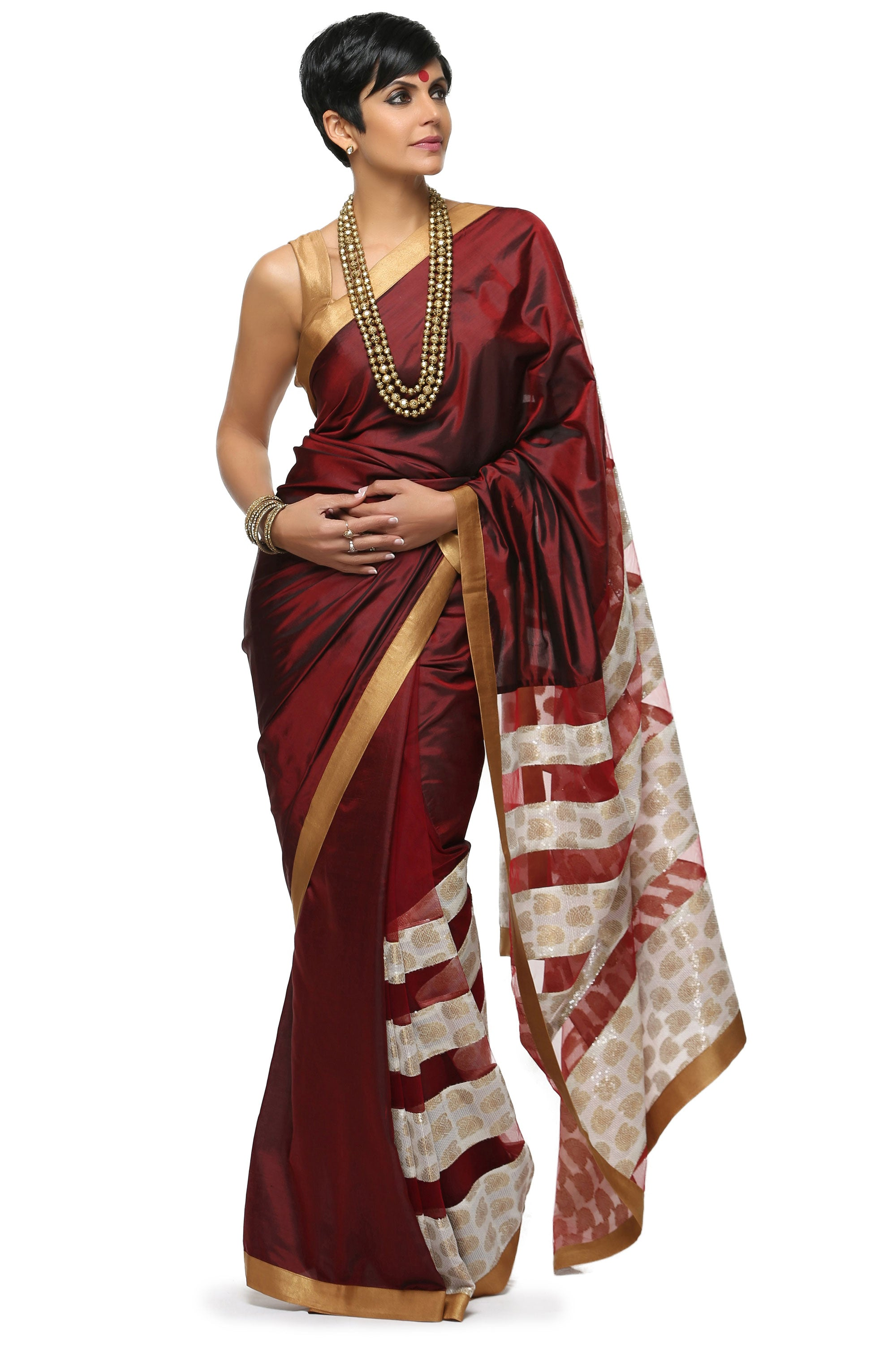 Maroon Saree With Gold Cotton Silk Blouse Front