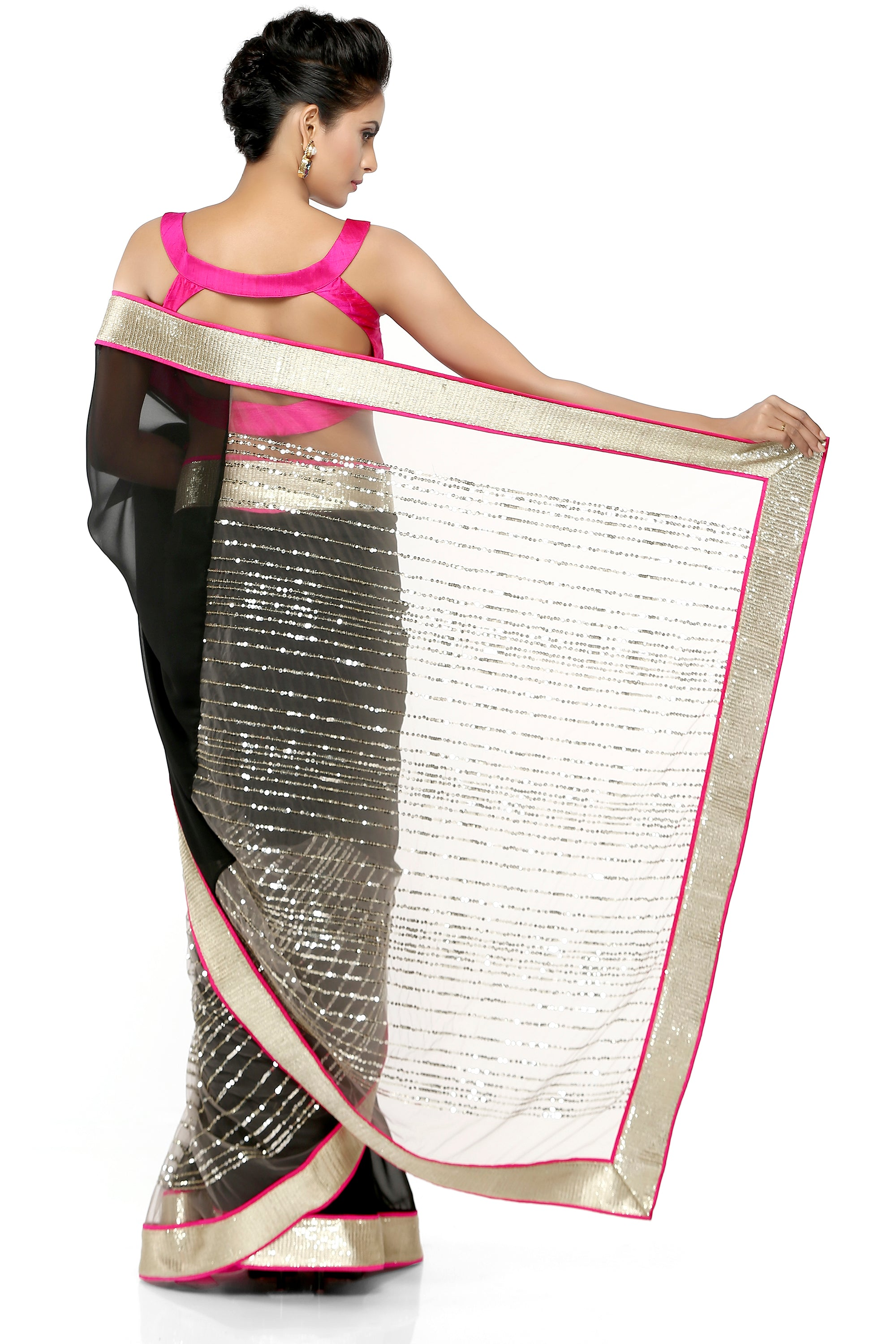 Black Georgette Saree With Gold Border Back