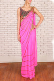 Pink Pre-Stitched Saree & Silk Blouse Front