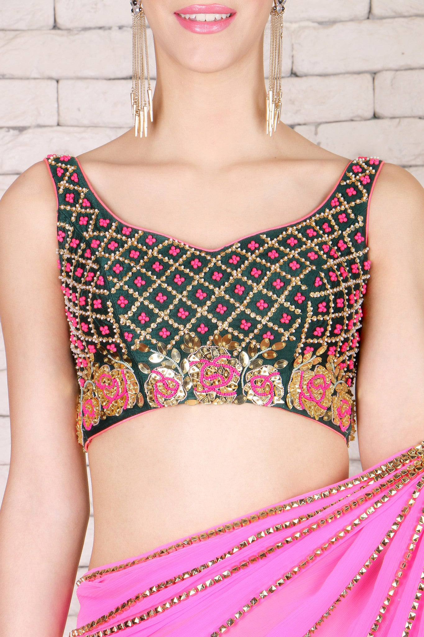 Pink Pre-Stitched Saree With Silk Blouse CloseUp
