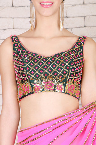 Pink Pre-Stitched Saree & Silk Blouse