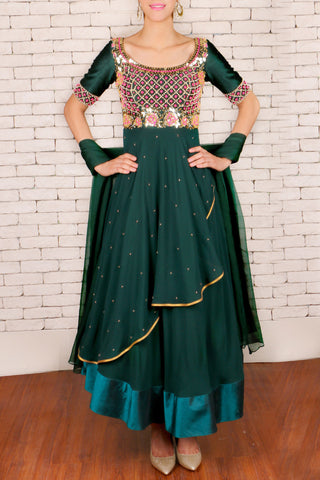 Dark Green Anarkali Front