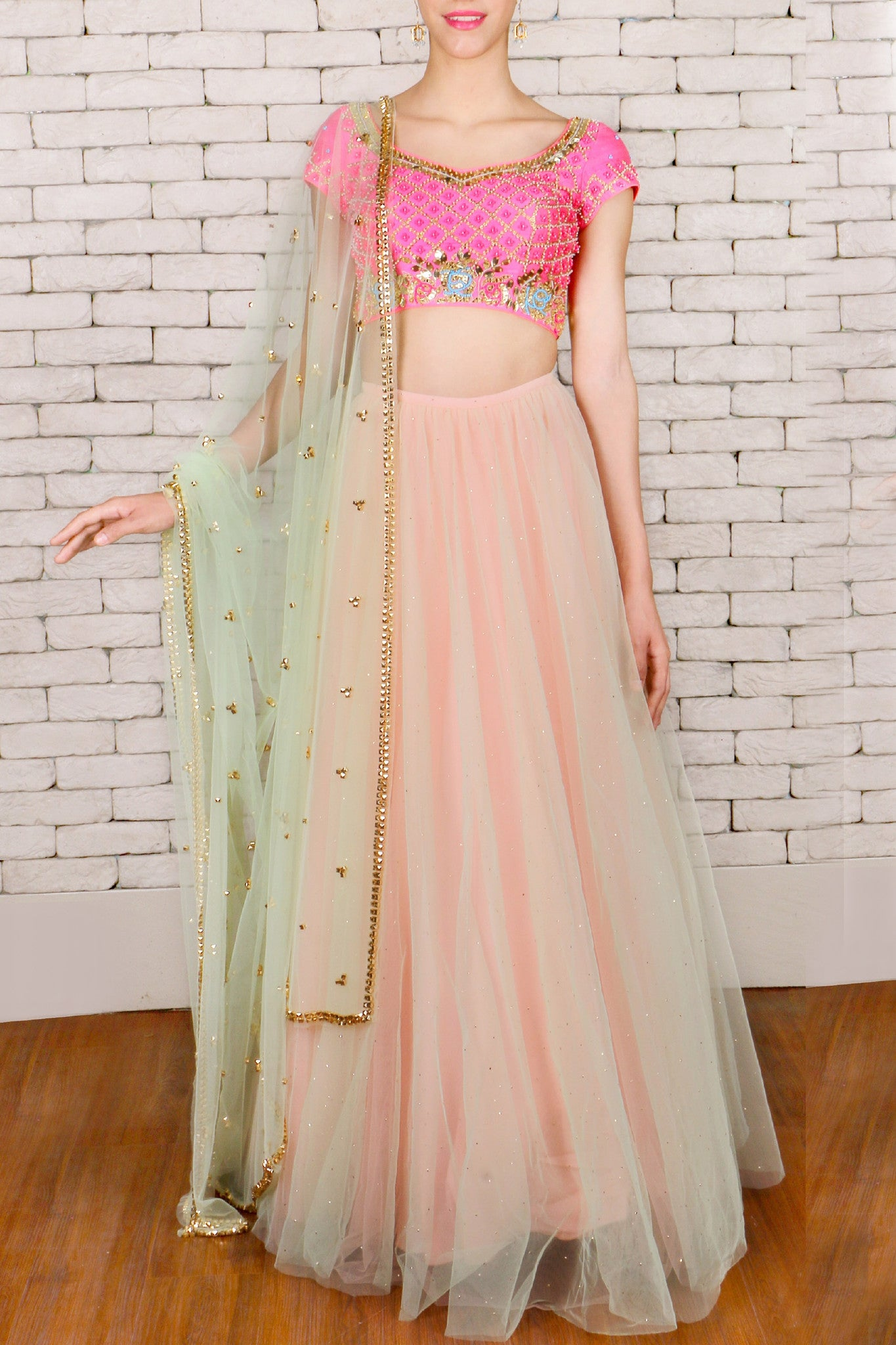 Mint green & Peach Double Layered Lehenga Front