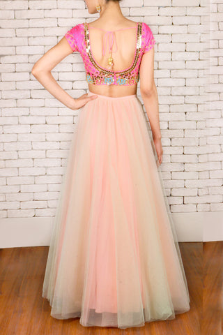 Mint Green & Peach Double Layered Lehenga