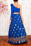 Blue Neoprene Lehenga Back