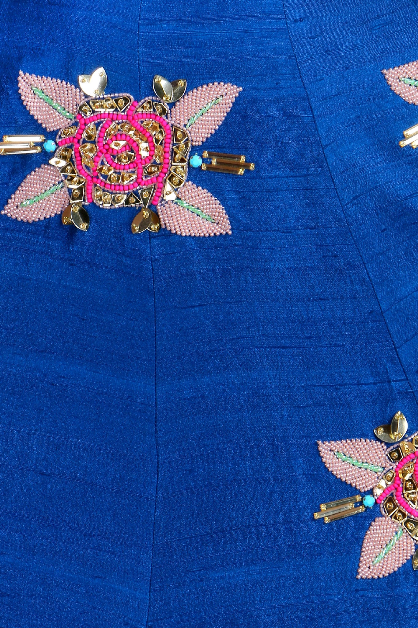 Imperial Blue Raw Silk Half Lehenga Beadwork