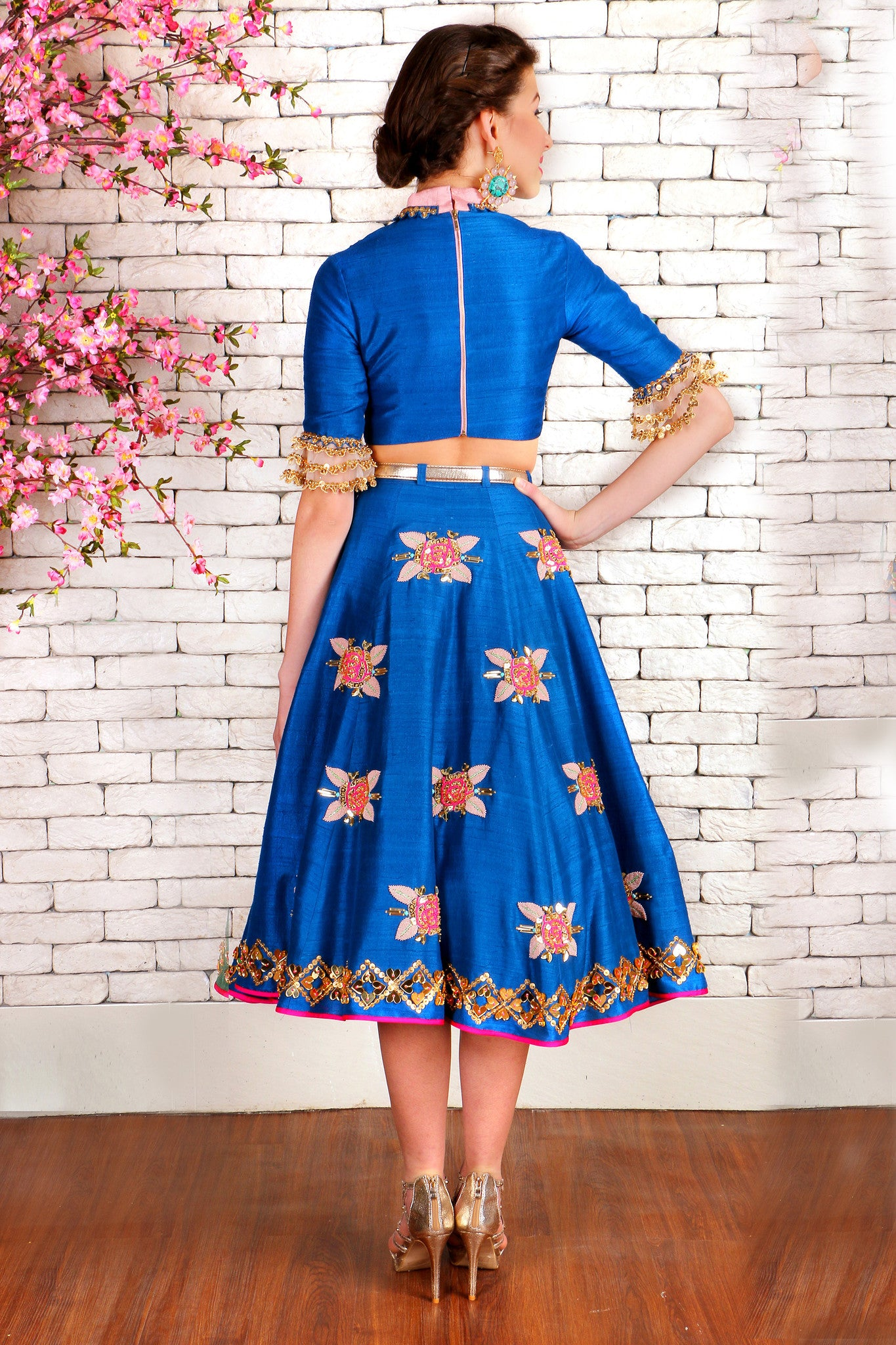 Imperial Blue Raw Silk Half Lehenga Back