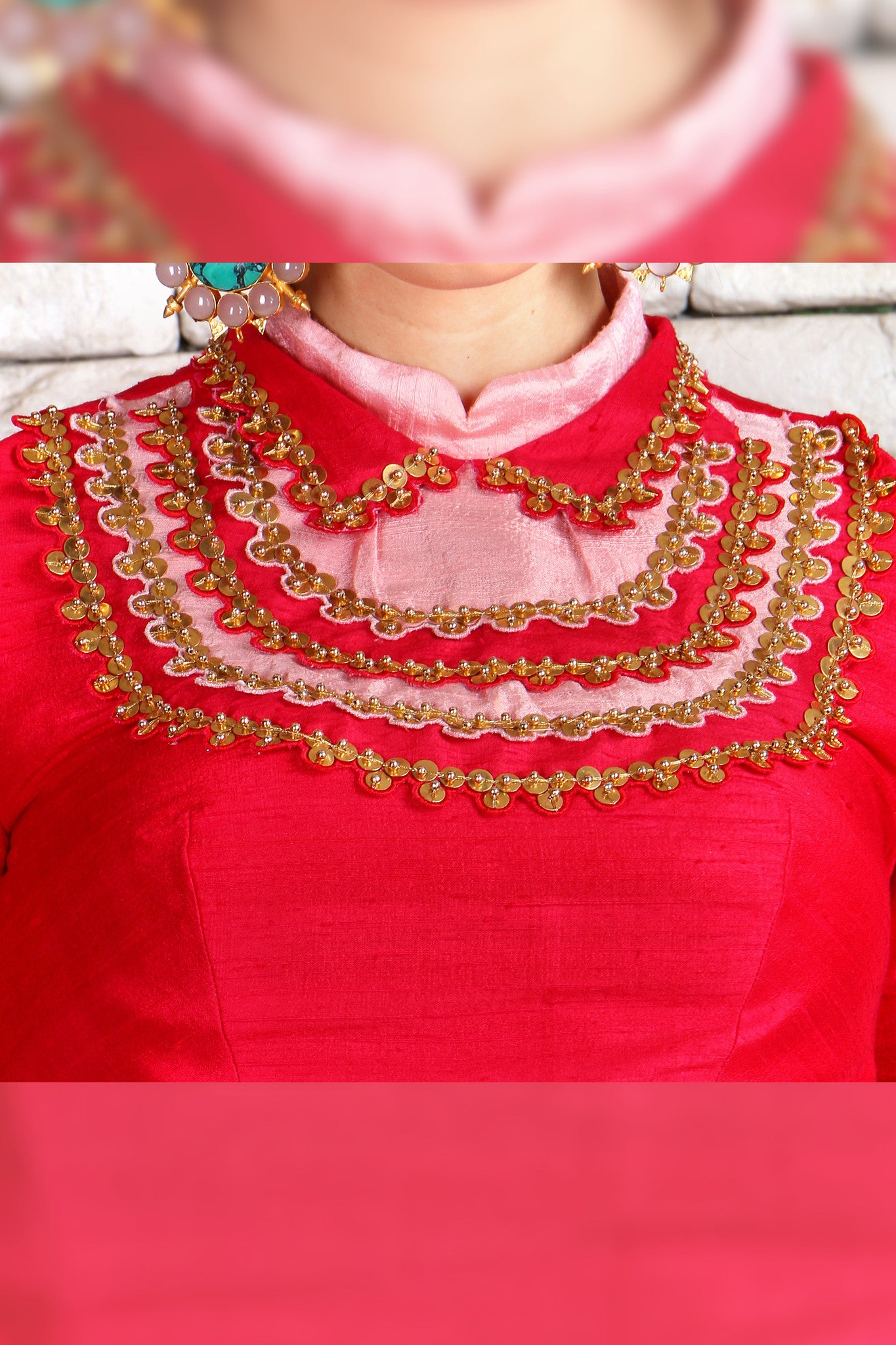 Red Raw Silk Half Lehenga CloseUp
