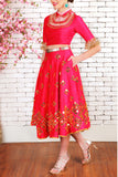 Red Raw Silk Half Lehenga Front
