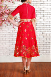 Red Raw Silk Half Lehenga Back