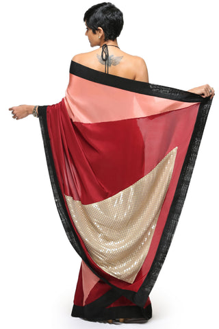 Burgundy Half & Half Saree