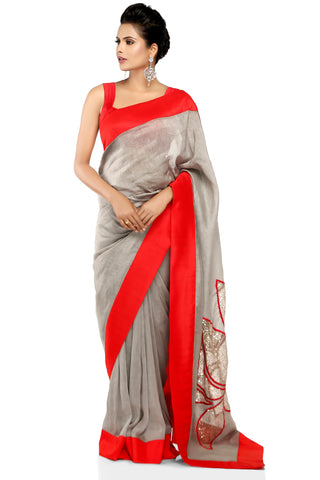 Grey Linen Saree Full