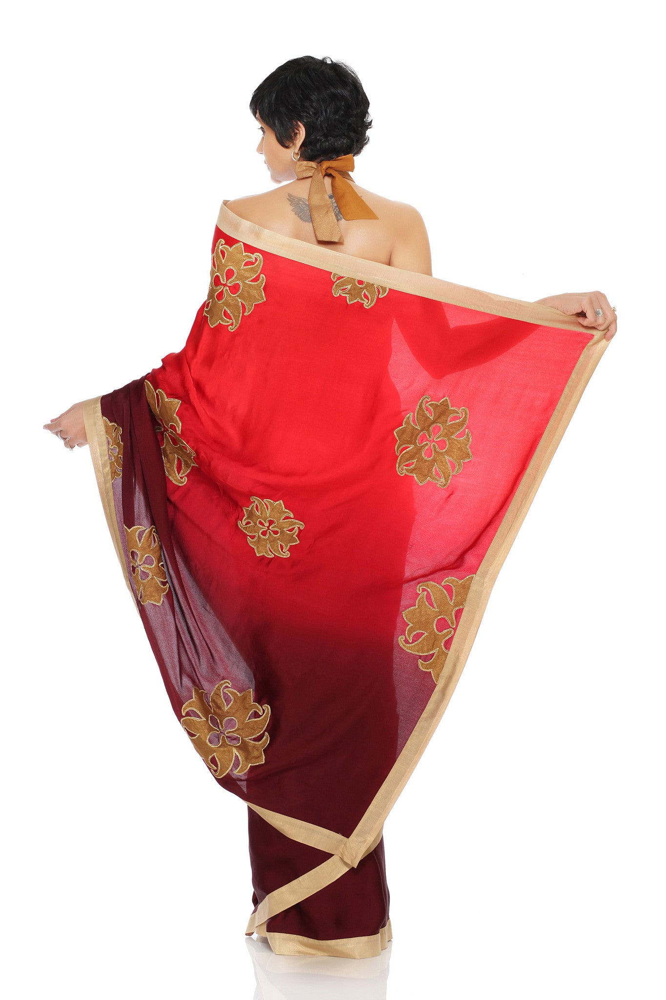 Red to Maroon Saree Back
