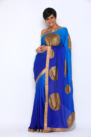 Light To Dark Blue Satin Gorgette Saree