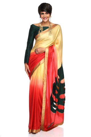Beige to Red Shaded Satin Saree With Leaf Embroidery FRONT