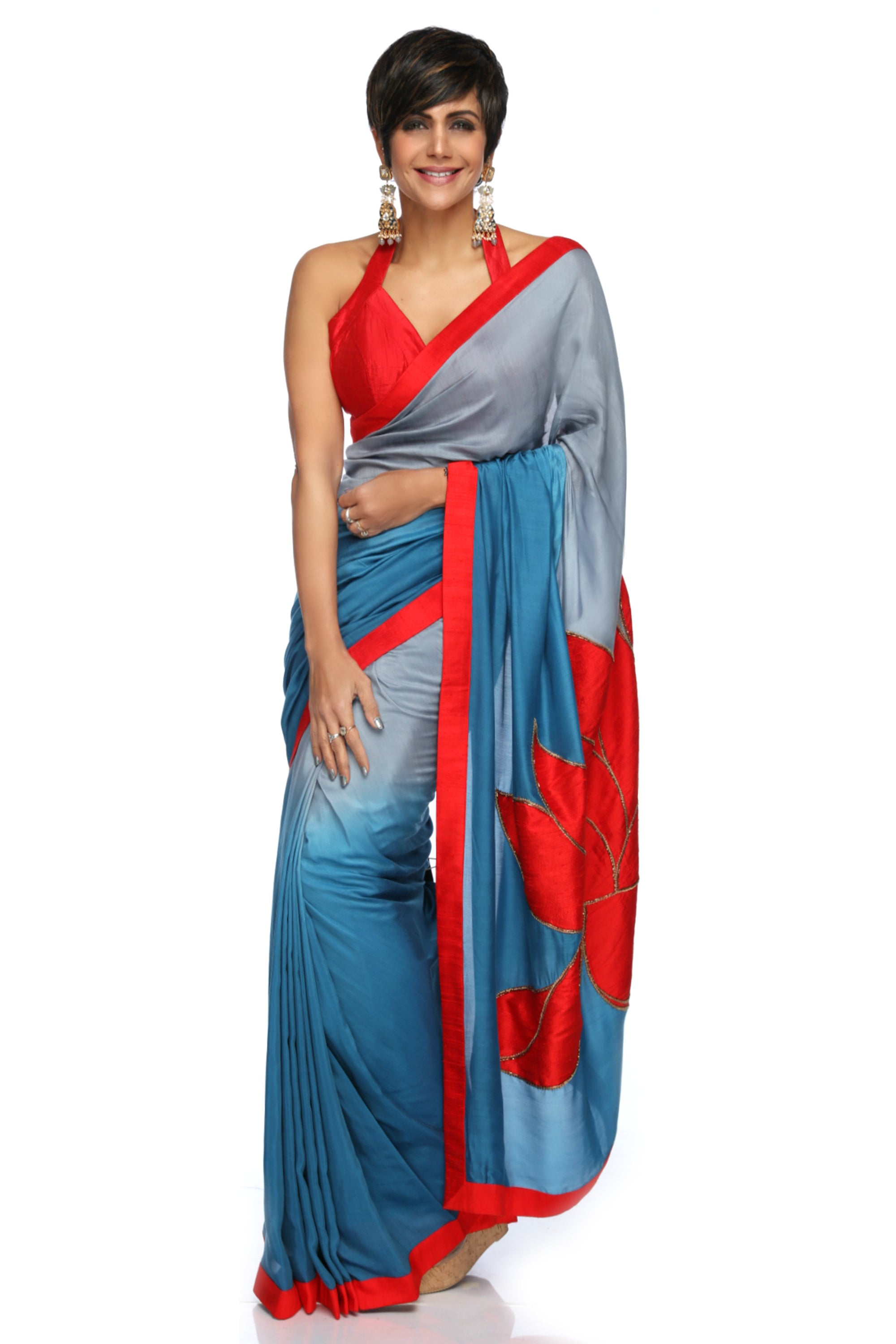 Grey to Teal Blue Shaded Cotton Silk Saree With Lotus Embroidery FRONT