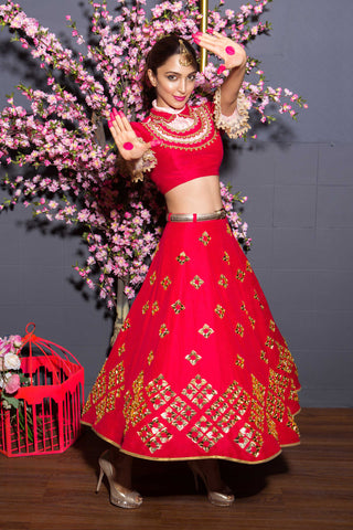 Red Raw Silk Half Lehenga Full