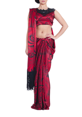 Red Rose Silk Saree Parul Signature Front