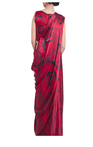 Red Rose Silk Saree