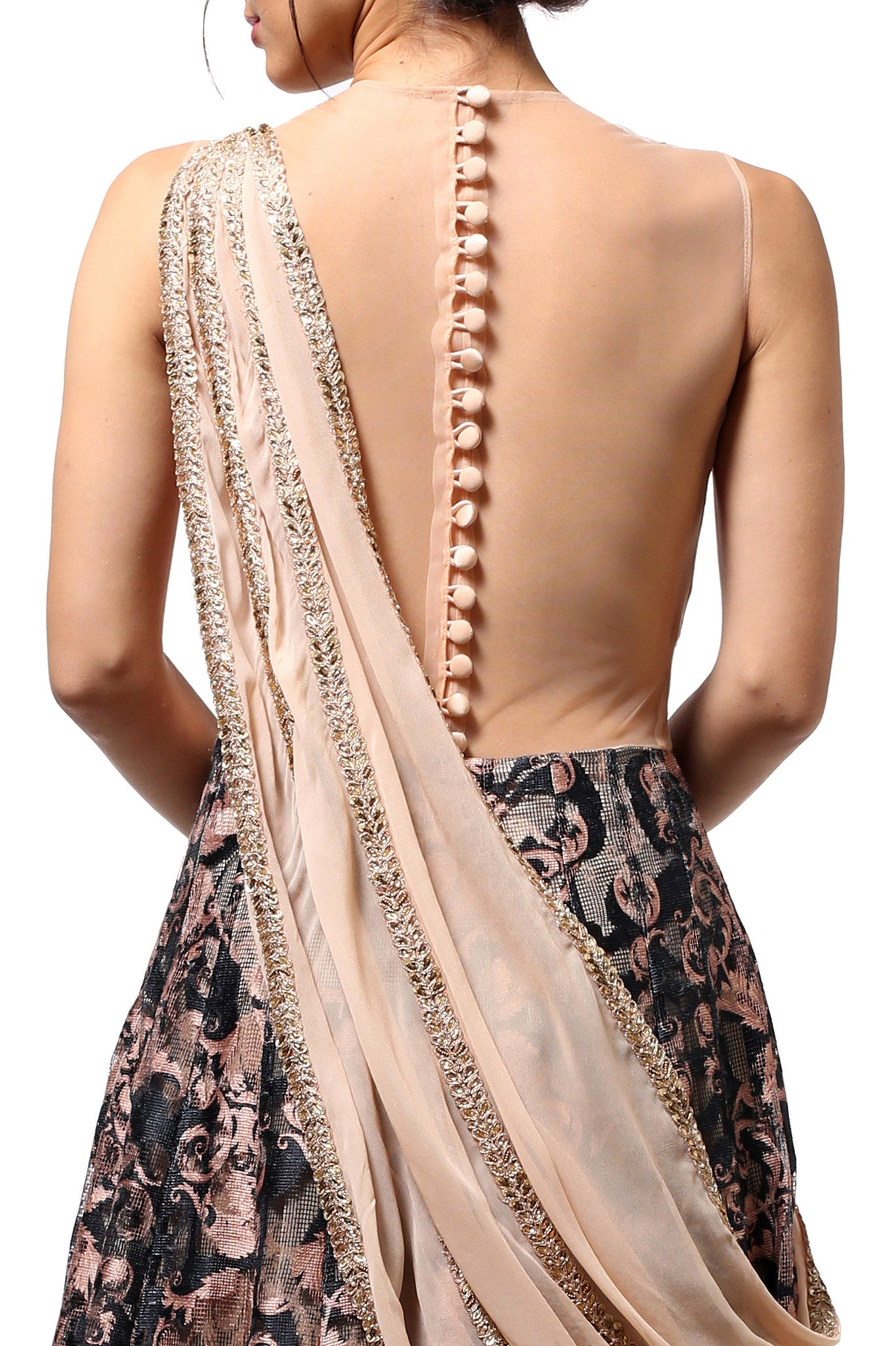 Peach Embellished Lehenga Gown Back