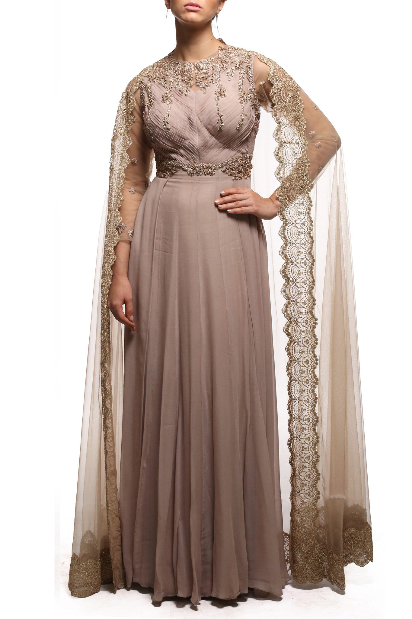 Beige Anarkali With Cape Front