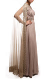 Beige Anarkali With Cape CloseUp