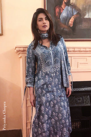 Blue Mahita Kurta As Seen On Priyanka Chopra