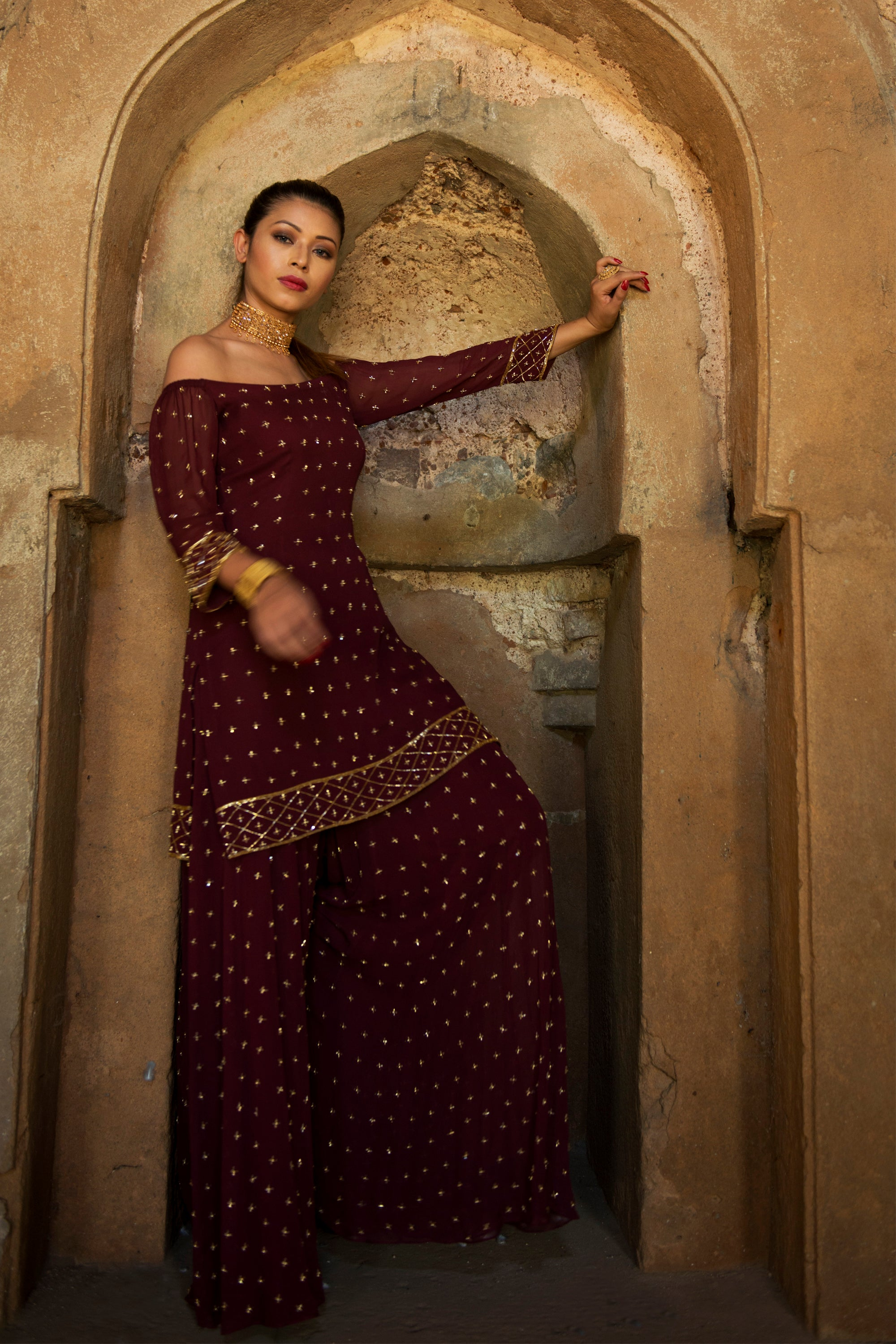 Wine Off Shoulder Sharara Set Full