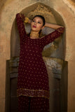 Wine Off Shoulder Sharara Set