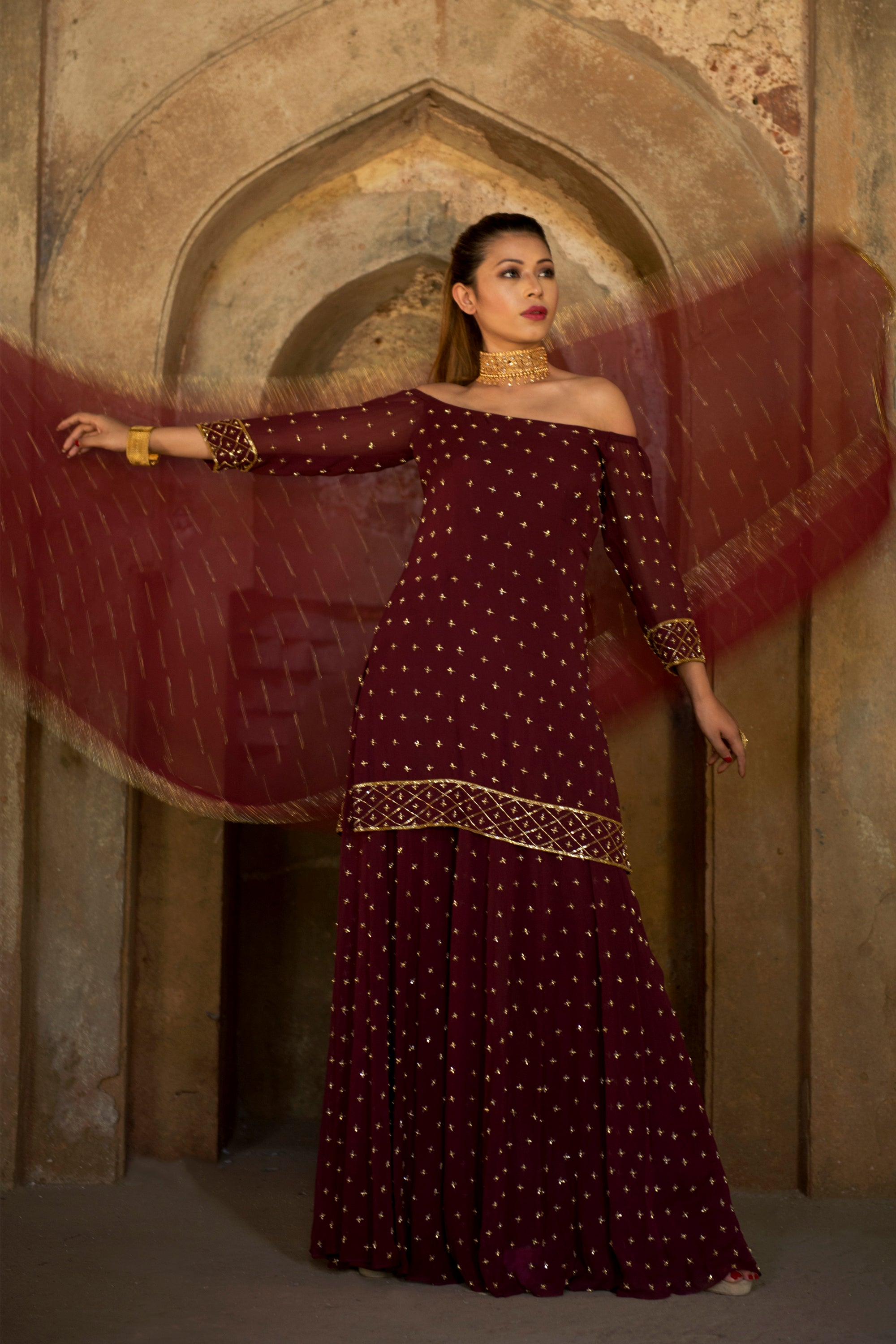 Wine Off Shoulder Sharara Set Front