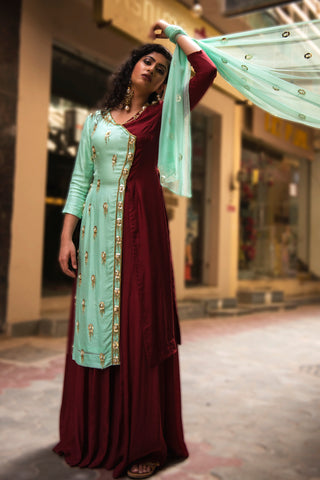 Wine & Sea Green Tassel Sharara Suit