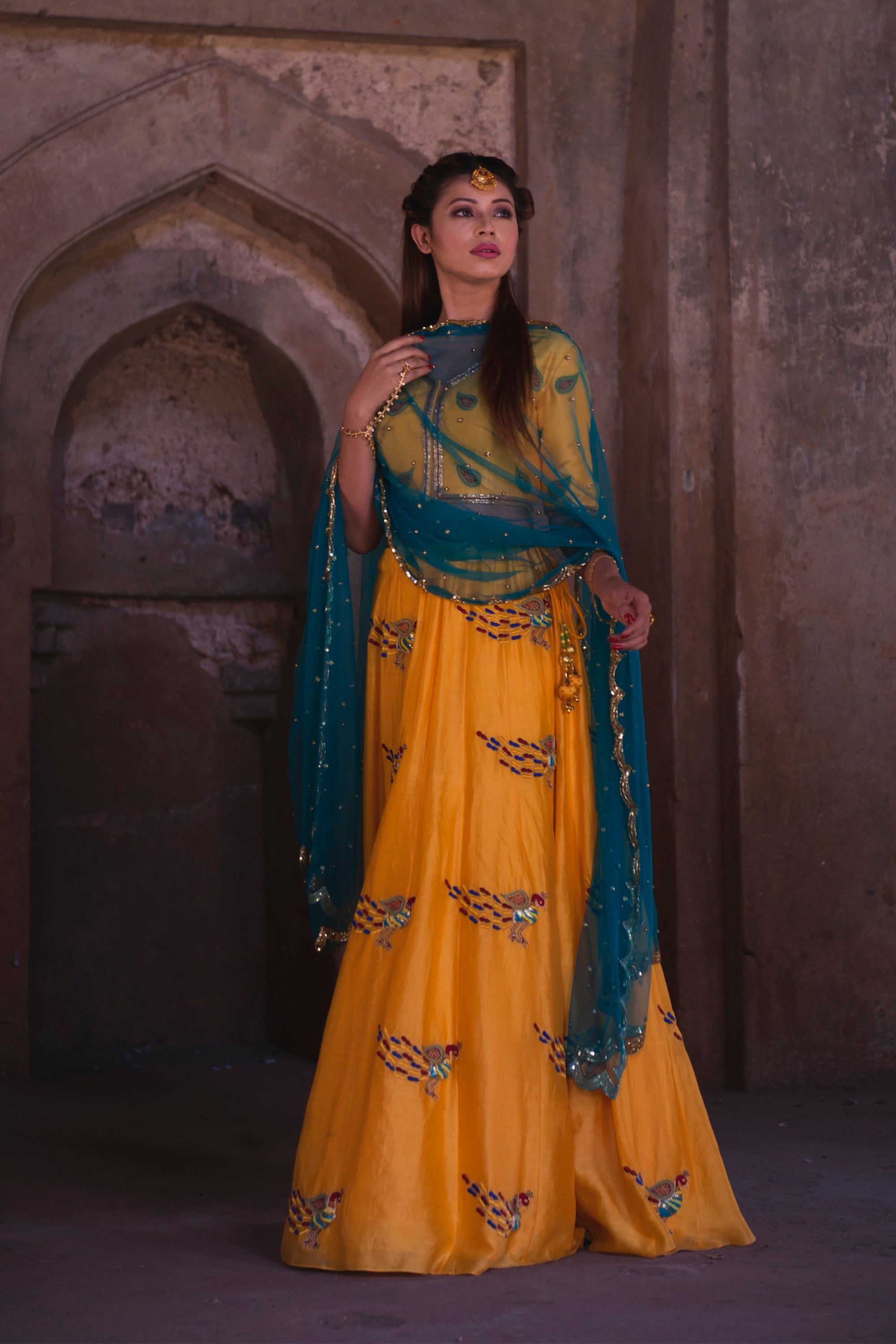 Yellow Peacock Motif Mehendi Lehenga Full