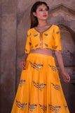 Yellow Peacock Motif Mehendi Lehenga CloseUp
