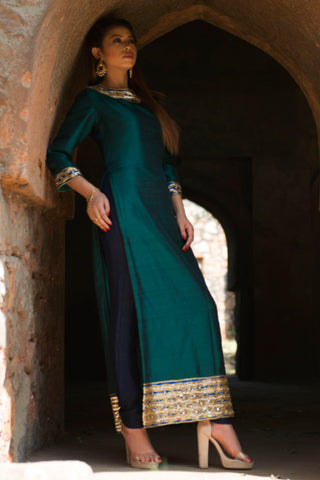 Dark Green Straight Kurta With Pants