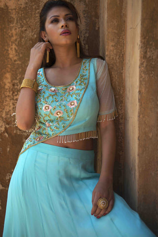 Turquoise Panel Crop Top & Skirt Set