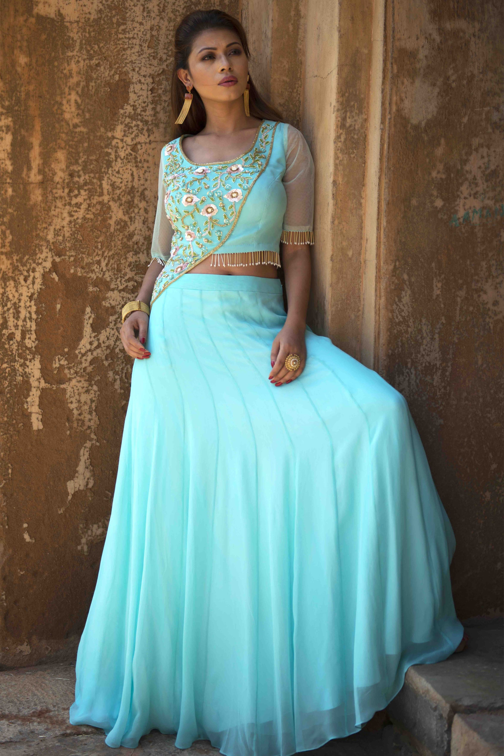 Turquoise Panel Crop Top Skirt Set Front