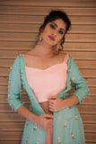Sea Green Jacket With Dhoti Pants CloseUp