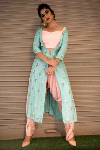 Sea Green Jacket With Dhoti Pants