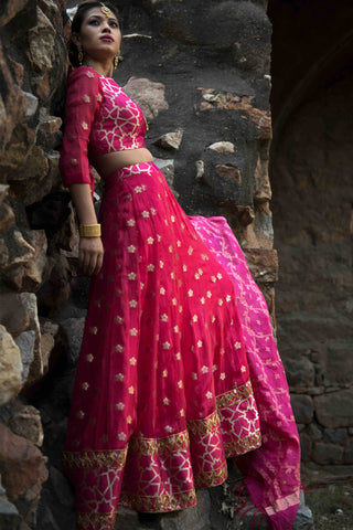 Hot Pink Brocade Mirror Work Lehenga