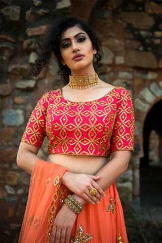 Orange & Red Lehenga