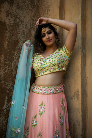 Peach & Yellow Floral Lehenga