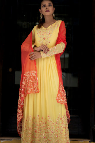 Yellow Anarkali With Coral Dupatta