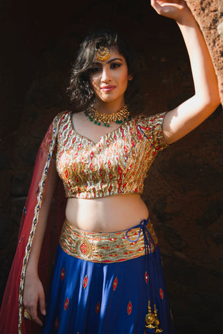 Royal Blue Mirror Work Lehenga