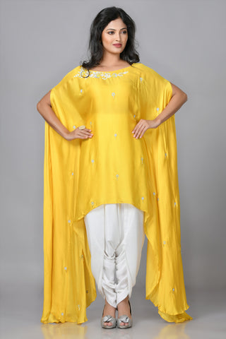Buttercup Yellow Silk Dhoti Set