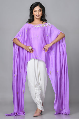 Lilac Silk Dhoti Set