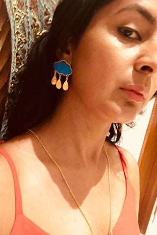 Blue Rain Cloud Earrings
