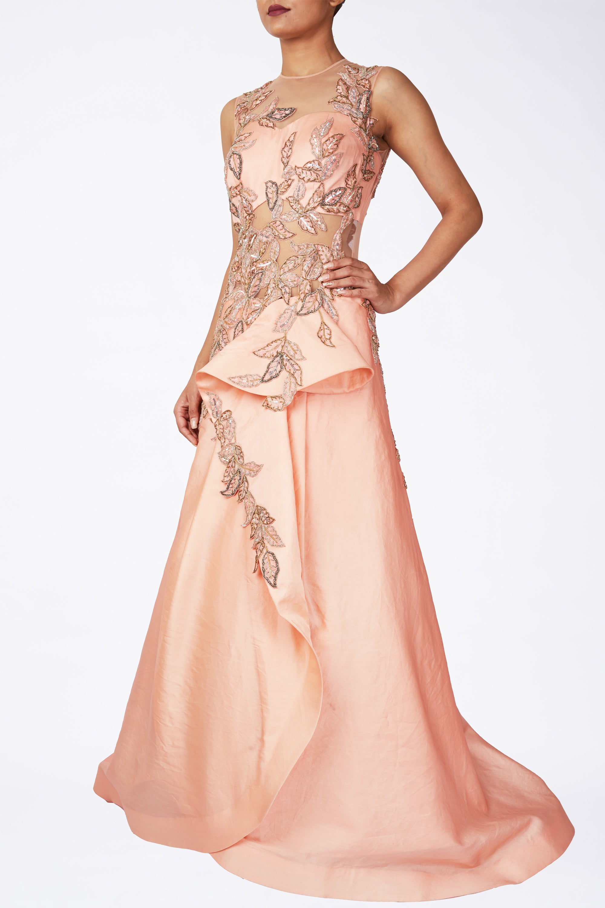 Peach Front Drape Gown Front