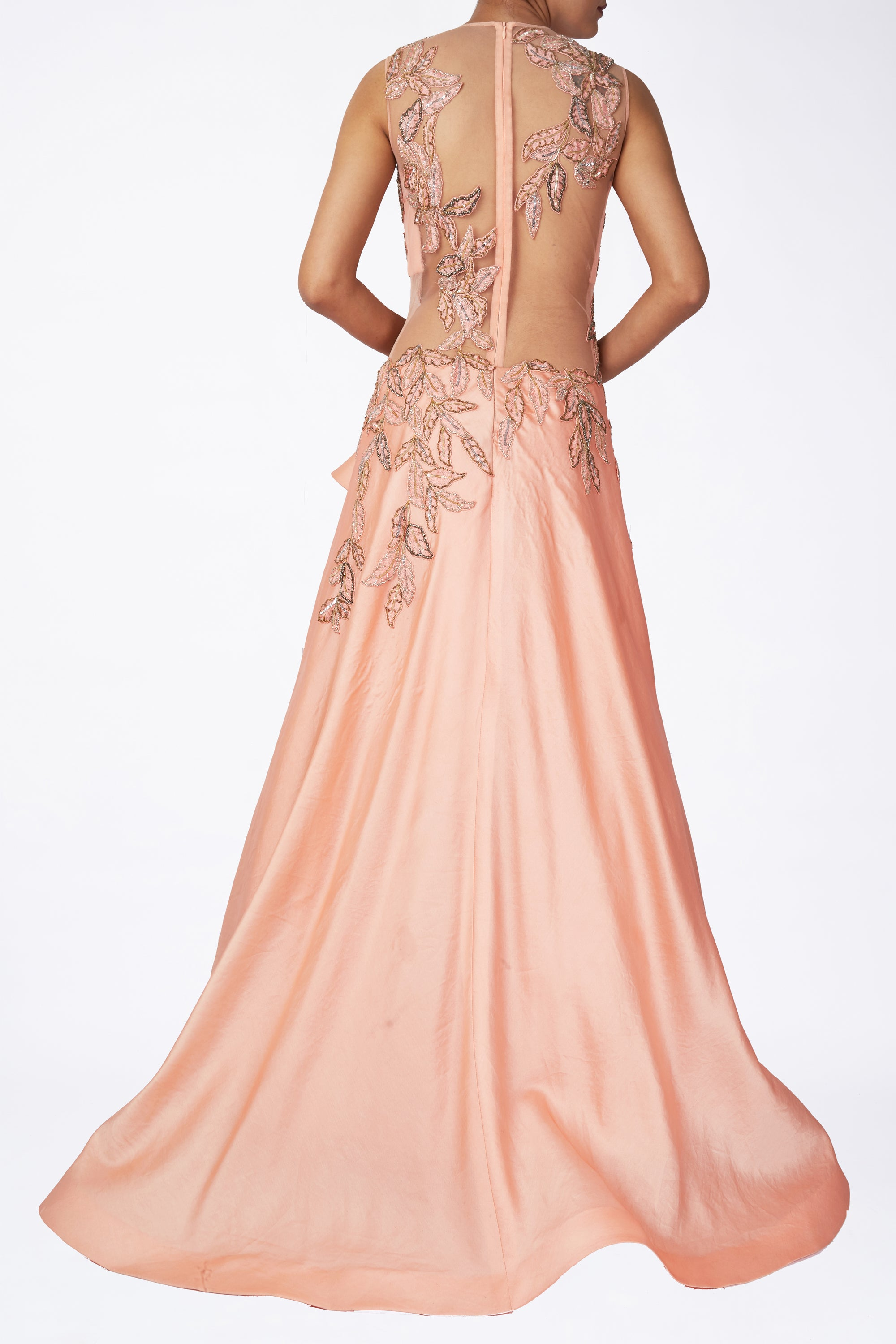 Peach Front Drape Gown Back